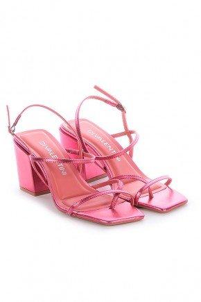 sandalia rosa metalizada salto grosso maira di valentini dv4242ro 3