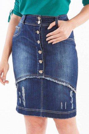 saia jeans botoes frontais e desfiados nitido jeans baixo