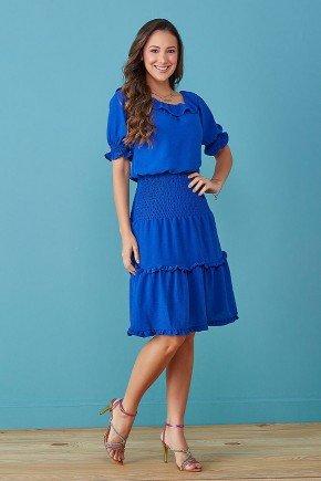 vestido azul ombro a ombro com babados tata martello