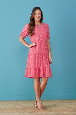 vestido rosa em chiffon mangas fofas tata martello