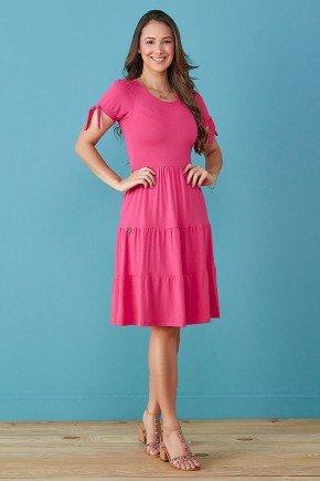 vestido pink babados e amarracao nas mangas tata martello
