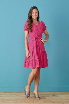 vestido pink transpassado em lesie tata martello