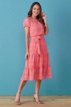 vestido rosa evase com amarracao na cintura tata martello