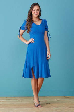 vestido azul royal em viscolinho tata martello