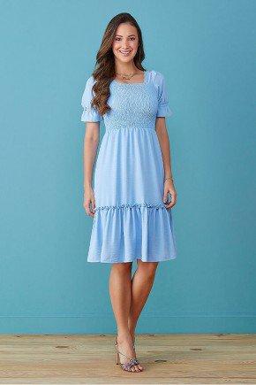vestido azul claro com babado detalhe em lastex tata martello