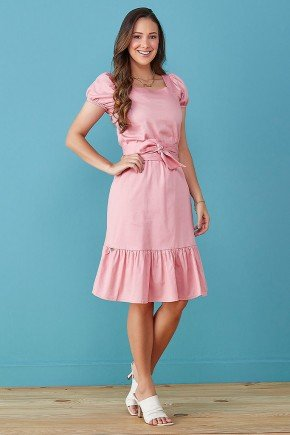vestido rose mangas fofas em tricoline tata martello