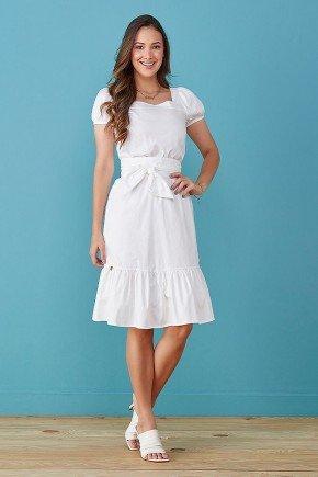 vestido off white mangas fofas em tricoline tata martello