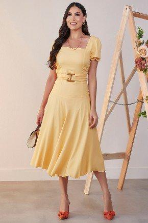vestido midi amarelo gode jany pim frente