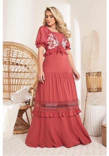 vestido longo vermelho com guippir e bolero mangas bufantes fasciniu s