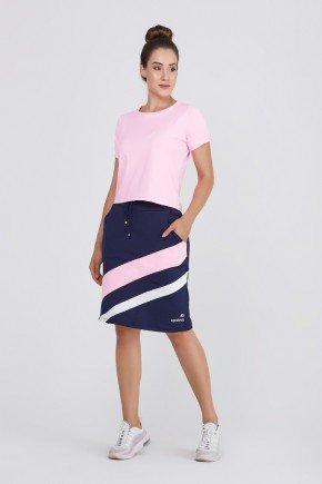 shorts saia fitness azul com listras rosa e branco poliester com protecao uv epulari frete 1