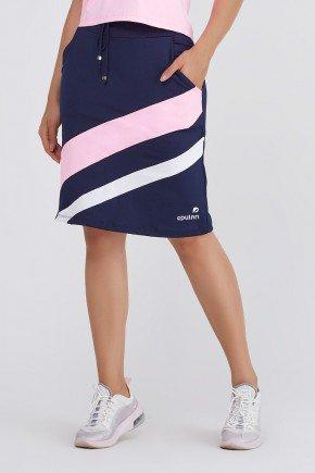 shorts saia fitness azul com listras rosa e branco poliester com protecao uv epulari frete 3