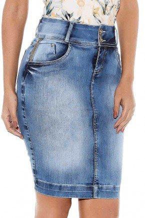saia jeans lavagem especial bolsos com strass titanium baixo