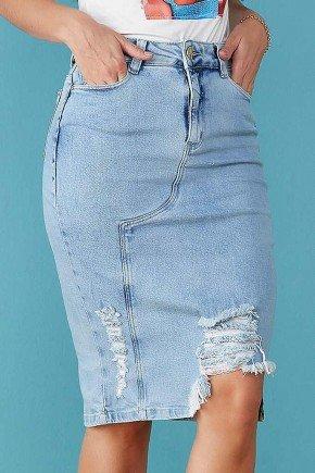 saia jeans destroyed com recortes tata martello baixo