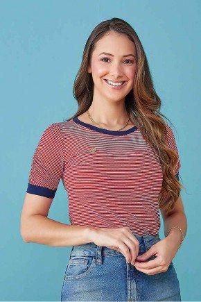 blusa feminina vermelha gola e punho marinho tata martello