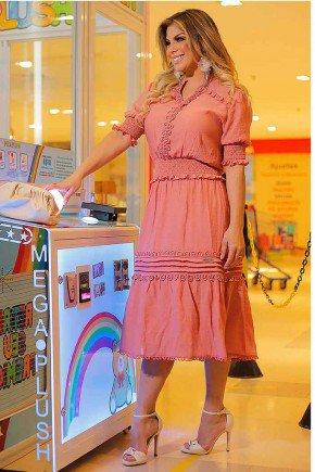 vestido rose midi aplicacoes de guippir fasciniu s