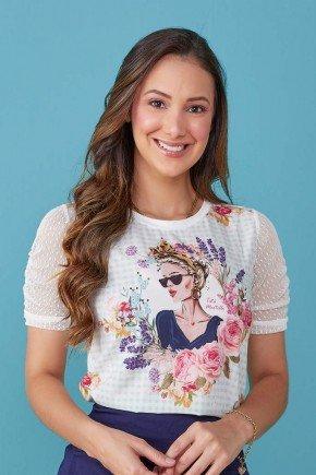 blusa branca estampada floral mangas tule cristina tata martello tm7193az 1
