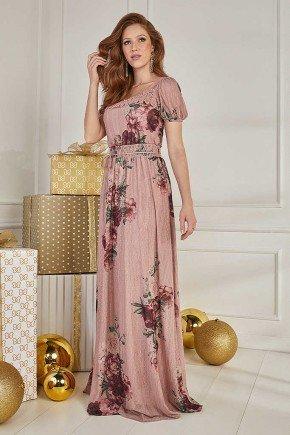 vestido longo rose com florais fasciniu s