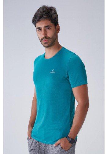 camiseta masculina dry fit verde gola redonda com protecao uv50 holyfit frente