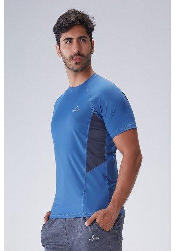 camiseta fitness masculina azul com protecao uv50 poliamida holyfit frente cima