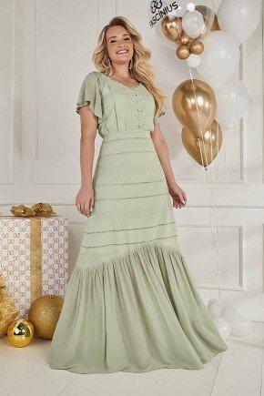 vestido verde longo com entremeios fasciniu s