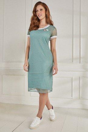 vestido tule rendado reto verde fasciniu s