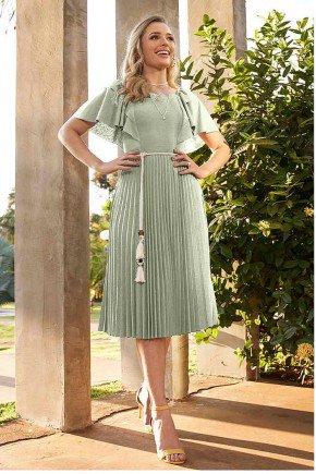 vestido verde claro plissado com babados e cinto fasciniu s