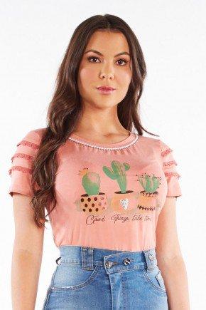 t shirt estampada com bordado e guipir na manga nitido jeans 206018860 5