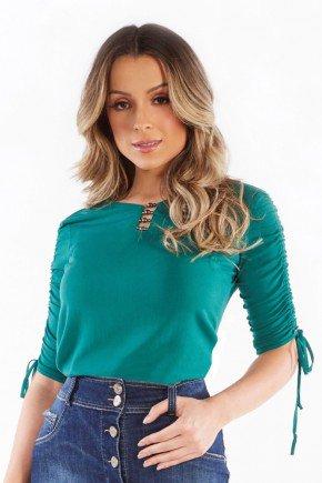 blusa manga 34 bordada com franzido nitido jeans 206018892 5