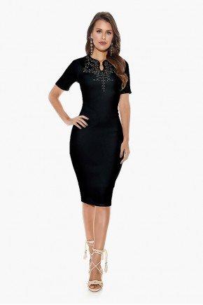 vestido tubinho preto com pedrarias titanium