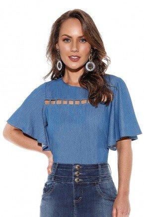 blusa feminina jeans recortes no busto titanium cima