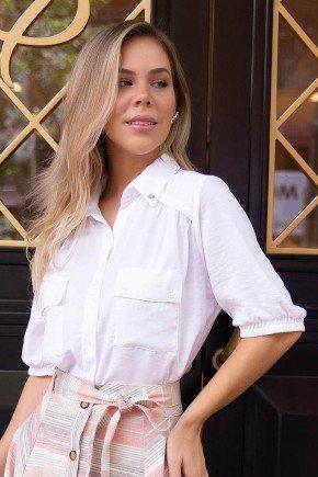 camisa social feminina branca manga 34 com bolsos via tolentino vt20033br 1