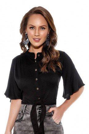blusa preta abotoamento frontal com amarracao titanium cima