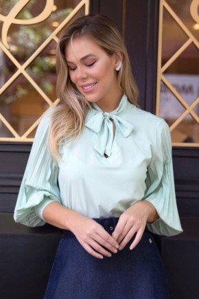 blusa verde gola laco e mangas plissadas via tolentino vt50065 1