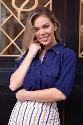 camisa social feminina azul manga 34 com bolsos via tolentino vt20033 3
