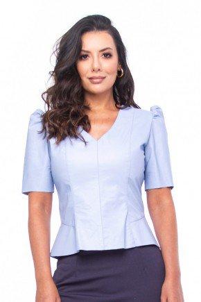 blusa azul em couro mangas bufantes pele mania pm7050 1