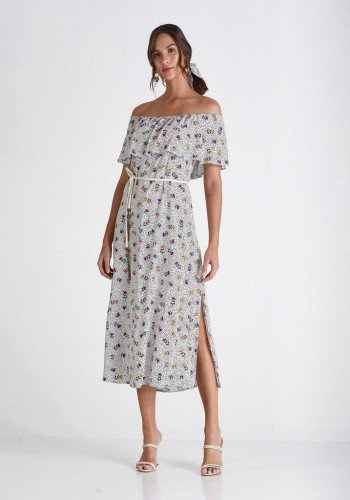 vestido off white estampado com scrunchie camila cloa cl2228off 1