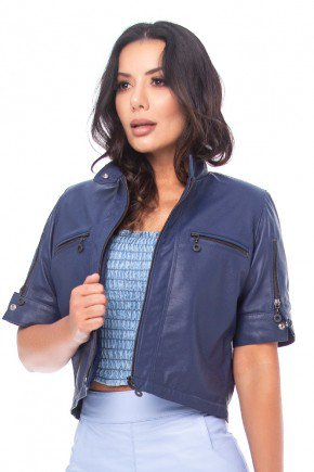 casaqueto de couro legitimo azul marinho pele mania pm7060 2
