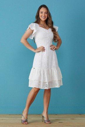vestido branco em lesie com babados tata martello