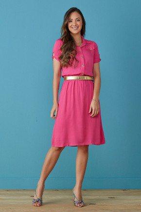 vestido chemise gola polo pink tata martello
