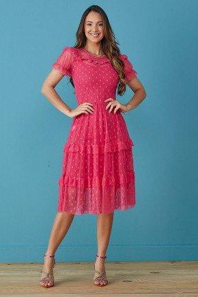 vestido pink tule de poas tata martello
