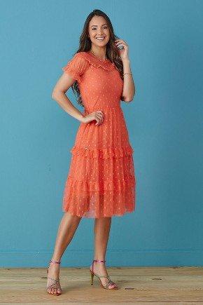 vestido laranja tule de poas tata martello
