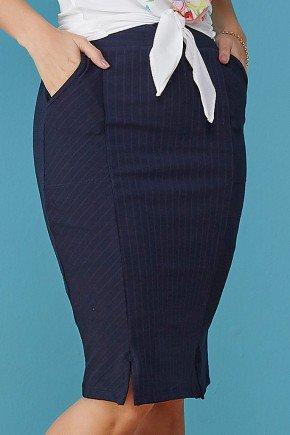 saia azul marinho canelada com bolsos tata martello baixo