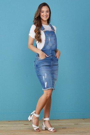 jardineira jeans azul com bolsos e desfiados tata martello