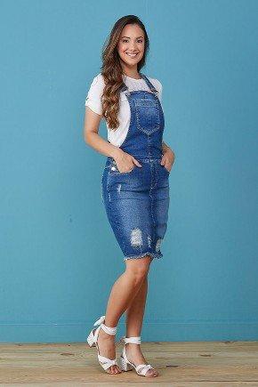 jardineira jeans azul marinho com bolsos e desfiados tata martello