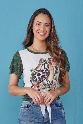 blusa feminina verde estampa exclusiva com amarracao tata martello