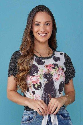 blusa estampa exclusiva com amarracao preto tata martello