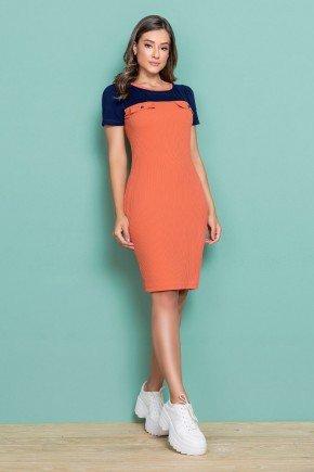 vestido secretaria malha canelada laranja e azul nitido