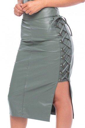 saia de couro verde com amarracao lateral pele mania pm4121 1