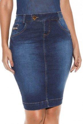 saia jeans botao transpassado no cos titanium baixo