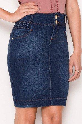 saia jeans detalhes pregas nos bolsos laura rosa baixo